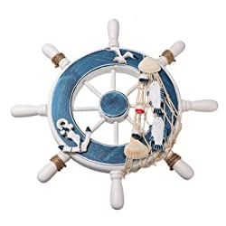 Steering Maritime Ornament - Boat Ship Steel Wall Plaque Nautical Beach Tropical Decor - Roulette Medallion Roll Medal Bicycle Ribbon Rack Palm Pedal Marine Ornamentation - 1PCs