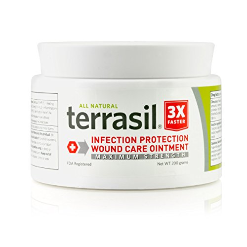 Terrasil® Wound Care - 3X Faster Healing, Dr. Recommended, Infection Protection Ointment for bed sores, pressure sores, diabetic wounds, ulcers, cuts, scrapes, and burns - 200g Jar (Best Vitamins For Wound Healing)