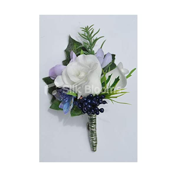 Silk Blooms Ltd Artificial Fresh Touch Ivory Rose and Lilac Freesia Buttonhole w/Blue Berries and Greenery