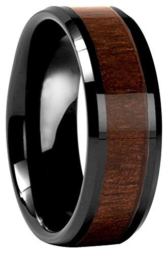 Men's Beveled Black Tungsten Ring with Black Walnut Wood Inlay Wedding Band,8mm US Size -