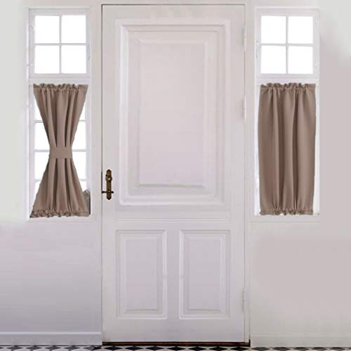 "Aquazolax Thermal Insualted French Door Curtain - Blackout Door Panels 25""x40"" Window Treatment Drapes Privacy - Single Panel, Taupe/Khaki"