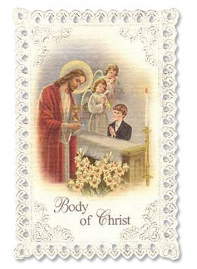 Kneeling Boy First Communion Lace Holy Card