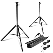 Neewer Professional Heavy-duty Speaker Stand Kit, includes: Two Height Adjustable Speaker Stands with Tripod Base and Safety Pin + Two 1/4'' Speaker Audio Cables + One Carrying Bag