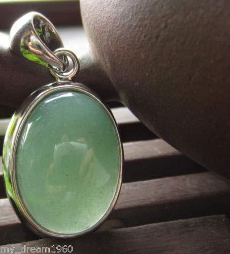 FidgetKute 34X17MM Oval Green Jade Gemstone Pendant Necklace - Oval Green Jade Pendant