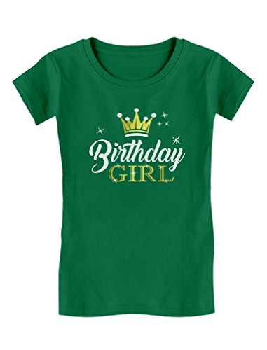 - Tstars Gift For Birthday Girl Princess Party Girly Girls' Fitted T-Shirt XL (14/16) Green
