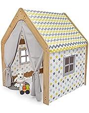 Minera 1-6 Yaş Ahşap Çocuk Oyun Evi / Çadırı - Ahşap Sarı