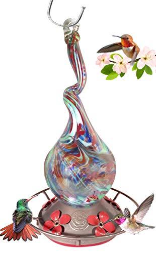 - Grateful Gnome - Hummingbird Feeder - Hand Blown Glass - Gnarly Glass Neck Gourd - 16 Fluid Ounces