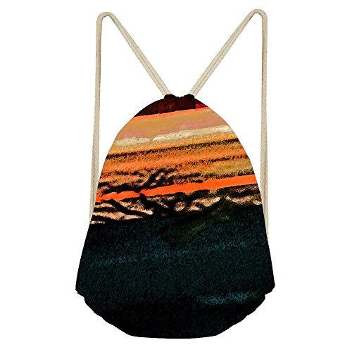 Pueblo Downtown Street Abstract Drawstring Bag, Backpack Fashion Dancing Bag Beach Hiking Bags for Women/Men/Girls