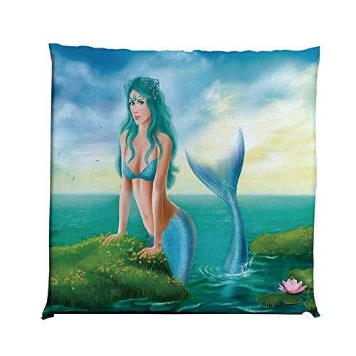 YOLIYANA Mermaid Decor Durable Square Chair Pad,Fantasy Young Woman Mermaid in Sea Waterlilies Wildflowers Sunrise Cloudy for Bedroom Living Room,One Size (Wildflower Hammock Chair Swing)