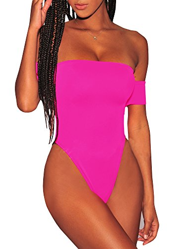 Nulibenna Womens Off Shoulder One Piece Swimsuit High Cut Lace Up Monokini Sexy Bathing Suit Pink ()