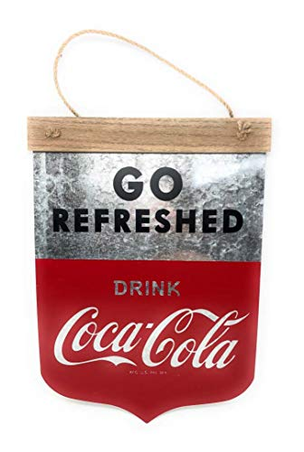 Go Refreshed Drink Coca-Cola Hanging Metal Banner Reproduction Vintage Advertising Sign - 14 by 10 Inches