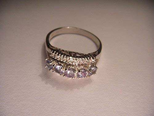 Beautiful Estate 14K White Gold Alexandrite Diamond Filigree Band Ring