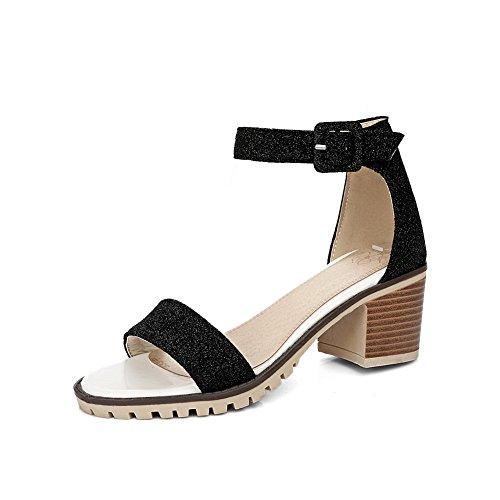 BalaMasa Ladies Chunky Heels Metal Buckles Peep-Toe Urethane Sandals Black 8QkfH7VL