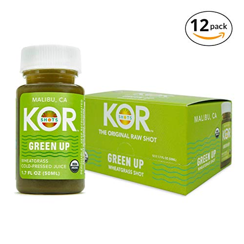 Kor Shots Green Up - Certified by Organic Certifiers Cold Pressed, Superfoods Wheatgrass and Spirulina, Energy Juice Shot - 12 Pack