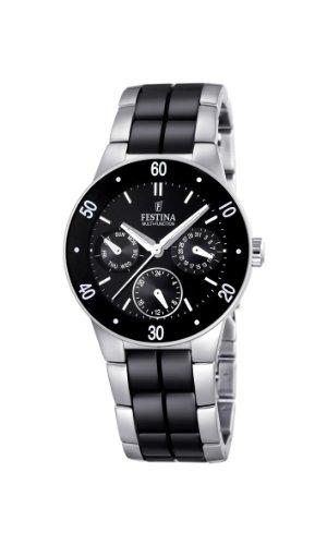 Festina Ladies Multi-Function Watch F16530/2 with Black Ceramic Inlay