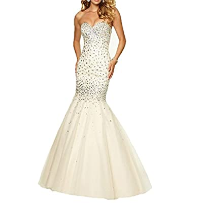 Fashionbride Women's Crystals Mermaid Prom Dresses Long 2017 Formal Evening Gowns
