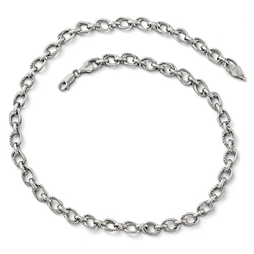 Solid Sterling Silver Polished and Textured Link Necklace Chain 18