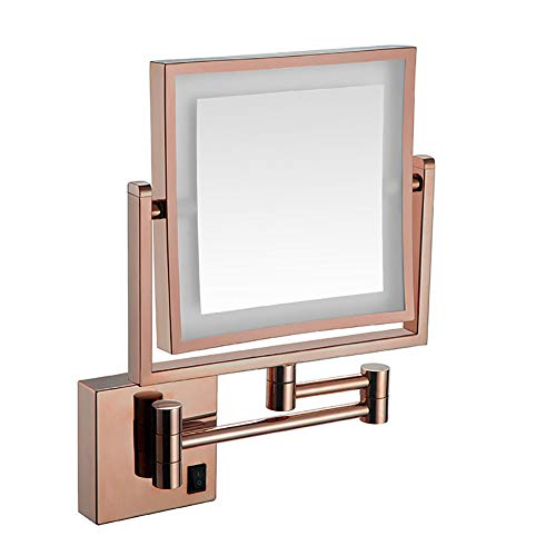 PENNY73 Wall Mounted Makeup Mirror LED Lighted Two Sided 360° Swivel Extendable -