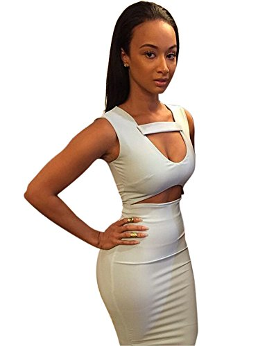 4d38ae68f7f Allegrace Women Sexy White Bodycon Mid Bandage Party Dress ...