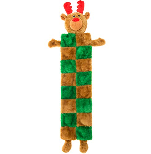 EXPAWLORER Christmas Dog Chew Toys with Squeaker - No Stuffing Durable Plush Toys for Teething and Hunting, ELK