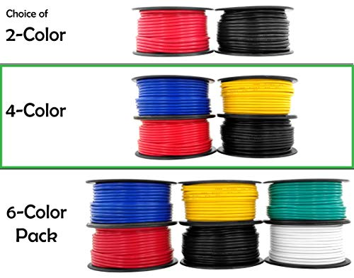GS Power 12 Gauge Copper Clad Aluminum Low Voltage Primary Wire in 4 Color Combo | 100 ft per Roll (400 Feet Total) for Car Audio Video Amplifier Remote Automotive - Wire Aluminum Stranded