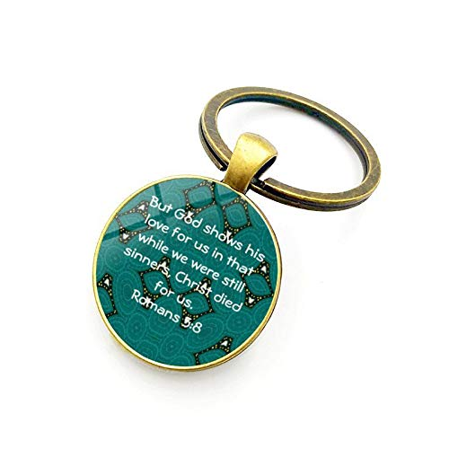Nice Roman Bronze - Inspirational Bible Verse Encourage Keychain, Christian Key Tags Scripture Gifts Car Keyring(Bronze) (12 Romans 5:8)