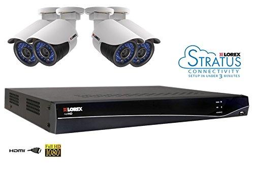 Lorex LNR382C4F 8 CH 2TB NVR, 4 x 1080p HD IP Indoor/Outdoor Night Vision Security Camera System (Black)