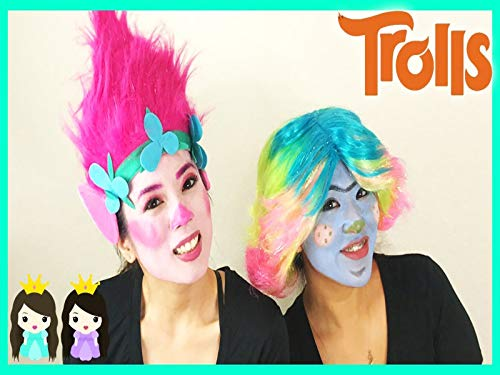 Clip: DIY Halloween Costume Makeup Tutorial: Trolls Poppy Makeover with Princess ToysReview -