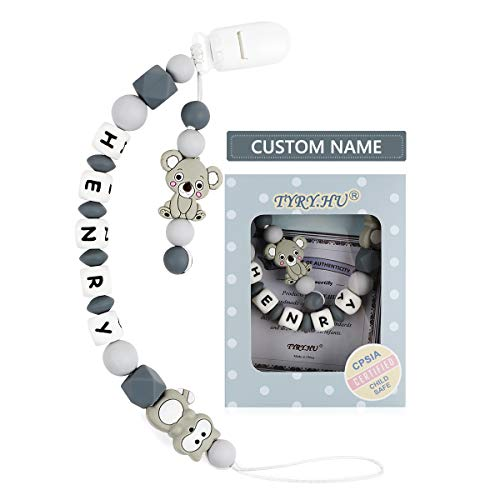 Pacifier Clip Personalized Name for Baby Boys and Girls, BPA Free Silicone Teething Beads Cute Baby Shower Gift(Raccoon & Koala, Grey)