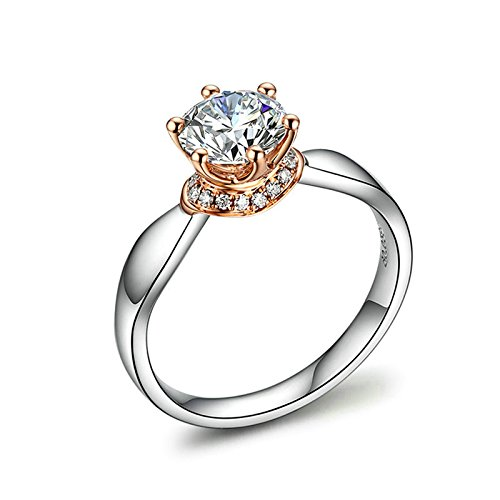 Beydodo Rings for Women 18k Real Gold 6-prong Setting SI D-E 30 Point Round White Diamond Ring Size 4.5 by Beydodo