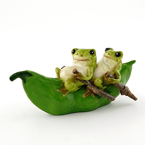 Top Collection Miniature Garden Frogs Rowing Peapod Boat