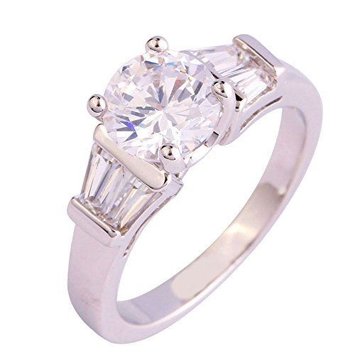 Empsoul Women's 925 Sterling Silver Natural Novelty Filled 1.75ct White Topaz Wedding Engagement ()