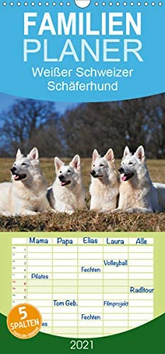 Weißer Schweizer Schäferhund - Familienplaner hoch (Wandkalender 2021, 21 cm x 45 cm, hoch)