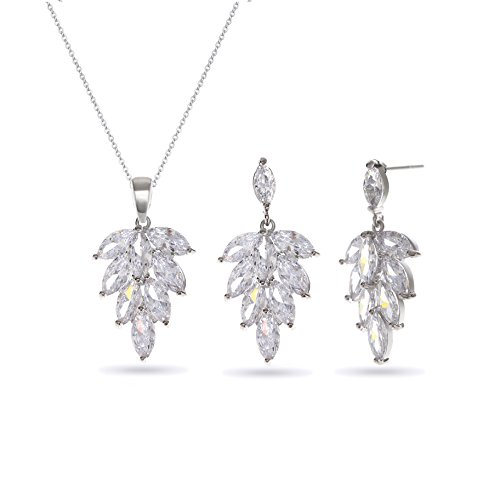 MYKEA Leaf Cubic Zirconia Jewelry Set - Women's 14K White Gold Plated CZ Crystal Rhinestone Pendent Necklace Earring Set for Girls Party Prom Everyday Costume - Flower About Swarovski Question Pendant