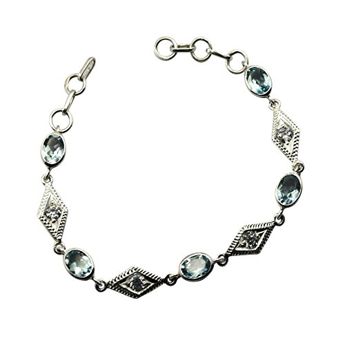 Real Blue Topaz 925 Solid Silver Bracelet For Women December Birthstone Link Style Jewelry L 6.5-8 Inch