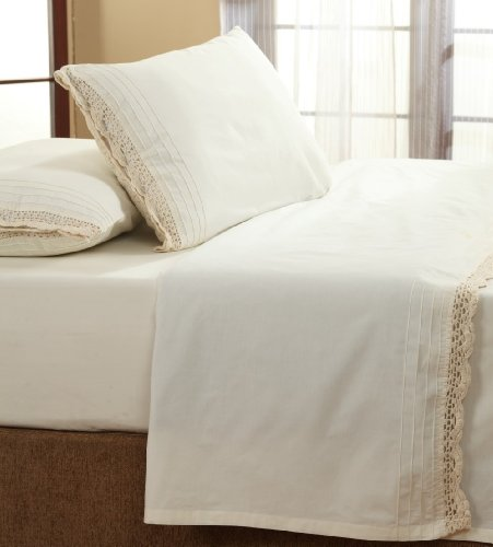 - Be-You-tiful Home Cotton Crochet Sheet Set, Twin, Ivory