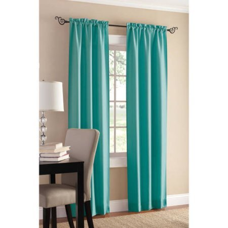 Mainstays Sailcloth Curtain Panel, Set of 2 | Casual Textured Fabric (56 x 63, Marine) ()