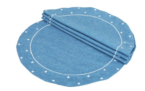 Xia Home Fashions Polka Dot Embroidered Easy Care Round Placemats, 16-Inch, Chambray, Set of 4