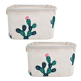 CLARA 2pcs Foldable Cotton Linen Home Desk Shelf Storage Bins Nursery Storage Baskets Organizer with Handles(Green Cactus)