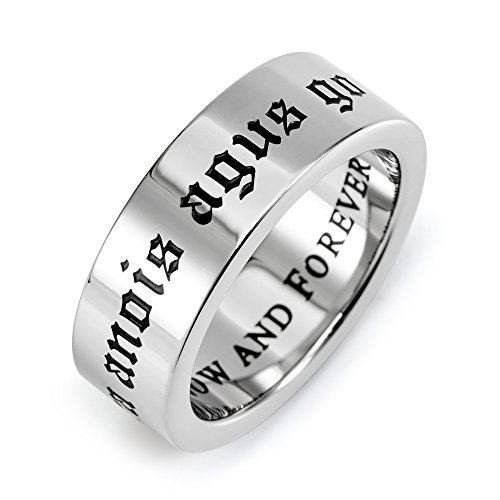 Eve's Addiction Love Now and Forever Stainless Steel Poesy Ring Final Sale ()