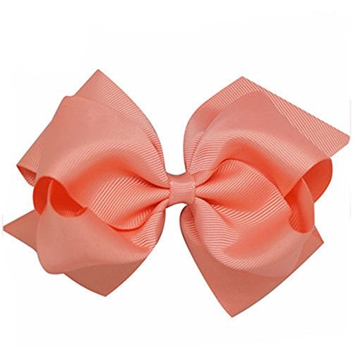 preliked 1Pc Girls Large Double Layers Hairbow Grosgrain Ribbon Clip Hairpin (12# Lt.coral)