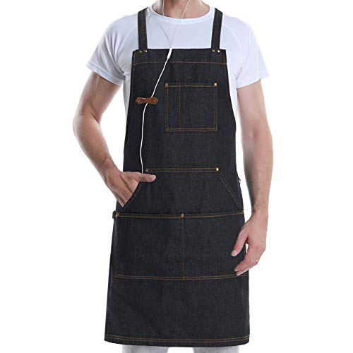 - VANRICH LDG Denim Apron for Kitchen Cooking BBQ Grill, Chef Bib Design for Men Women with Tool Pockets+Quick Release Buckle+Towel Loop,Adjustable M to XXL