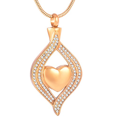The eyes of my Heart cremation Urn Pendant memorial ashes Keepsake Necklace+Free 20 Inch Chain (Gold)
