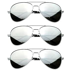 MJ Eyewear Silver Mirror Lens Aviator Sunglasses - pack of 3 (3 PACK SILVER, MIRROR)