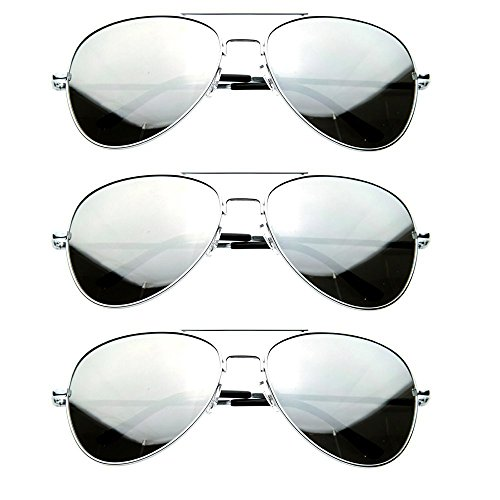 Silver Mirror Lens Aviator Sunglasses Cop Pilot Shades Patriotic