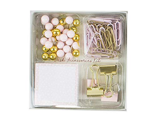 Push Pins Plus Desk Holder Includes Paperclips Bulldog Clips Notepad London Empire /® Desk Accessories Set