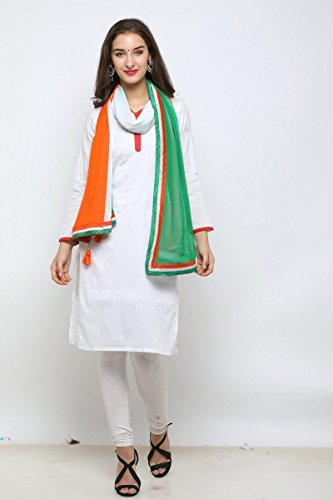 EthnicJunction Women's Chiffon Dupatta(Triranga-1_Multi_Free Size)