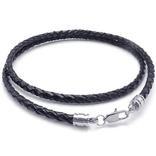 Stainless Steel Necklaces, Men's Pendant Necklace Black Leather Cord Rope Link Clasp 4Mm 16-30