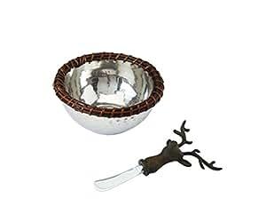 Mud Pie Twig Rim Dip Cup and Deer Spreader Set, Silver