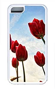 iPhone 5c case, Cute Red Tulip iPhone 5c Cover, iPhone 5c Cases, Soft Whtie iPhone 5c Covers